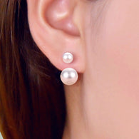 Ball Shape Silver Simulated Pearl Ear Studs