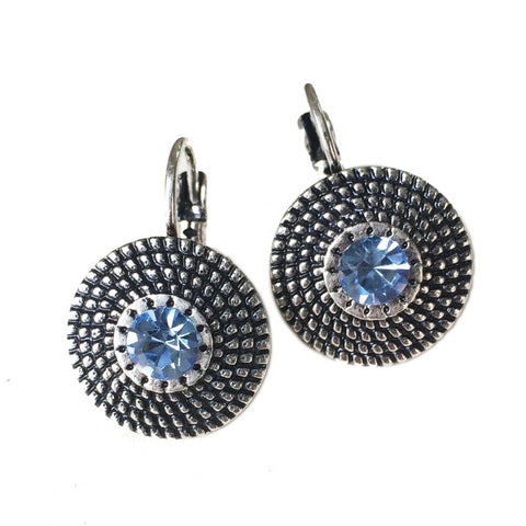 Retro Round Clip Blue Crystal Gemstone Antique Silver White Or Blue