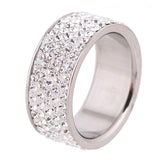Stainless Steel Engagement Rings 5 Lines Clear Crystal Serval Different Colors