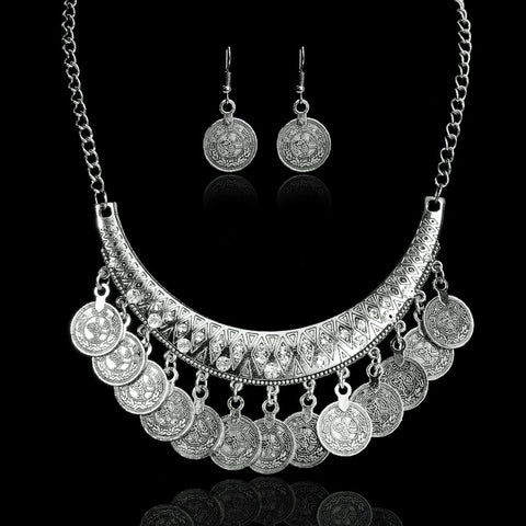 Hot Sale Bohemian Vintage Chokers Necklaces Ethnic Carved Coins Necklaces & Earrings Set For Women