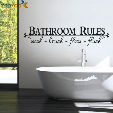 Bathroom Rules Home Decoration Creative Quote Wall Decals