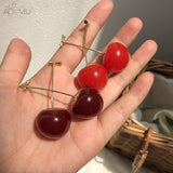 Pretty  Red Cherry Gold Color Fruit Stud Push Back Earrigs