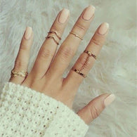 6Pcs Urban Rhinestone Above Knuckle Stacking Band Mid Rings Jewelry