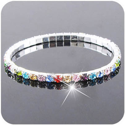 Fashion Colorful Rhinestone Crystal Bracelets & Bangles Silver Plated  Wristband