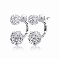 New Fashion Double Sided Synthetic Crystal Ball Stud Earrings For Women