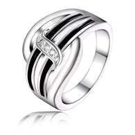 In Vogue Black Silver Plated Engagement  Rings
