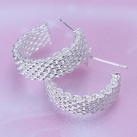 Round Silver Plated Twist Ladies Earrings