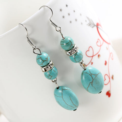 Hot Sales New Fashion Personalized Long Turquoise Silver Plating Long Drop Earrings