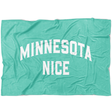 Minnesota Nice Block Fleece Blanket in Mint and White