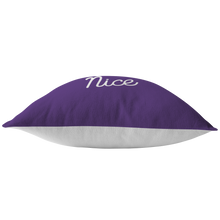 Minnesota Nice Script Pillow in Purple and White Bottom View