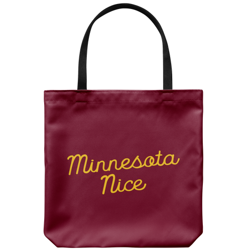 Minnesota Nice Script Tote Bag in Maroon and Gold