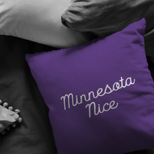 Minnesota Nice Script Pillow in Purple and White in a Room