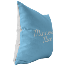 Minnesota Nice Script Pillow in Baby Blue and White Side
