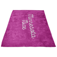 Minnesota Nice Script Fleece Blanket in Pink and White Side View