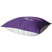 Minnesota Nice Script Pillow in Purple and White Laying Down