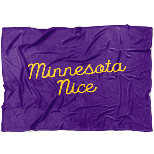 Minnesota Nice Script Fleece Blanket in Purple and Gold