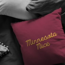Minnesota Nice Script Pillow in Maroon and Gold in a Room