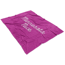 Minnesota Nice Script Fleece Blanket in Pink and White View