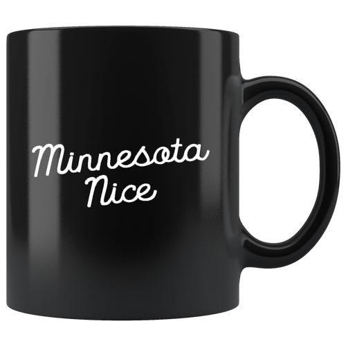 Minnesota Nice Script Mug in Black