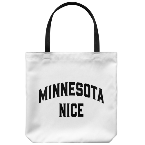 Minnesota Nice Block Tote Bag in White and Black