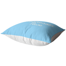 Minnesota Nice Script Pillow in Baby Blue and White Laying Down
