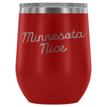 Minnesota Nice Script Wine Tumbler in Red