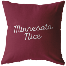 Minnesota Nice Script Pillow in Maroon and White