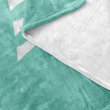 Minnesota Nice Block Fleece Blanket in Mint and White Up Close