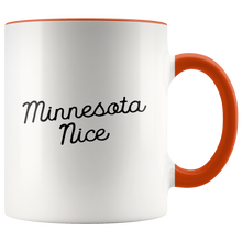 Minnesota Nice Script Accent Mug in Orange