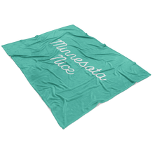 Minnesota Nice Scrip Fleece Blanket in Mint and White View