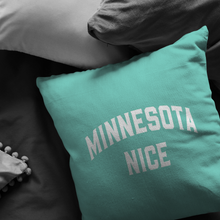 Minnesota Nice Block Pillow in Mint and White in a Room