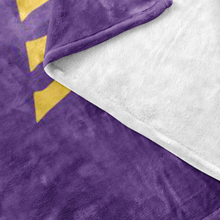 Minnesota Nice Block Fleece Blanket in Purple and Gold Up Close