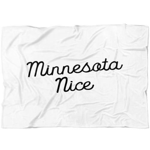 Minnesota Nice Script Fleece Blanket in White and Black