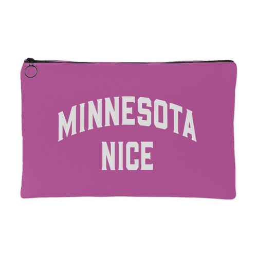 Minnesota Nice Block Accessory Pouch in Pink and White Small