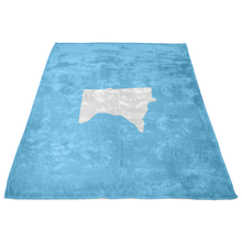 Minnesota Fleece Blanket in Baby Blue and White Side View