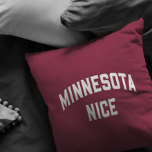 Minnesota Nice Block Pillow in Maroon and White in a Room