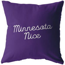 Minnesota Nice Script Pillow in Purple and White