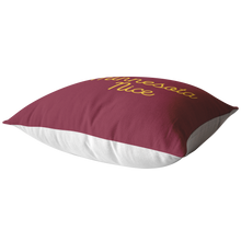 Minnesota Nice Script Pillow in Maroon and Gold Laying Down