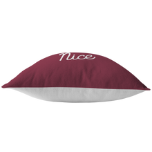 Minnesota Nice Script Pillow in Maroon and White Bottom View
