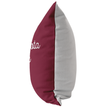 Minnesota Nice Script Pillow in Maroon and White Side View