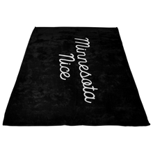 Minnesota Nice Script Fleece Blanket in Black and White Side View