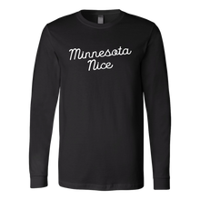 Minnesota Nice Script Men's Long Sleeve Tee with Rib Cuffs in Black
