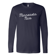 Minnesota Nice Script Men's Long Sleeve Tee with Rib Cuffs in Navy Blue