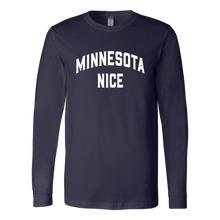 Minnesota Nice Block Men's Long Sleeve Tee with Rib Cuffs in Navy Blue