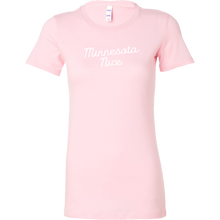 Minnesota Nice Script Women's Fitted Tee in Pink