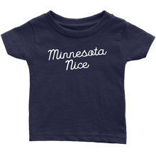 Minnesota Nice Script Infant Tee in Navy Blue