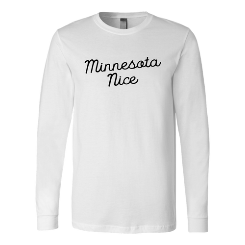 Minnesota Nice Script Men's Long Sleeve Tee with Rib Cuffs in White