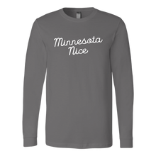 Minnesota Nice Script Men's Long Sleeve Tee with Rib Cuffs in Grey