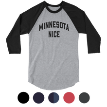 Minnesota Nice Block 3/4 Sleeve Baseball Shirt in Heather