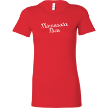 Minnesota Nice Script Women's Fitted Tee in Red